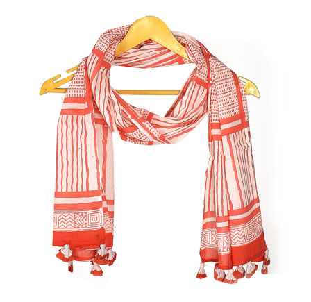 White and Red Cotton Block Print Dupatta With Pom Pom-33072