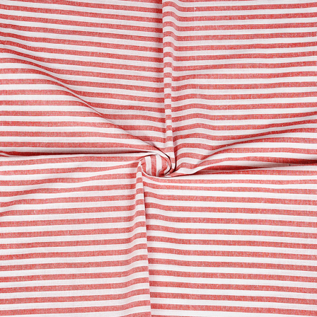White and Red Cotton Handloom Khadi Fabric-40226
