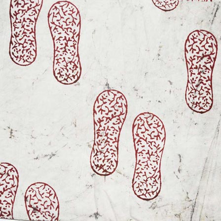 White and Red Footprint Indian Cotton Fabric by the yard