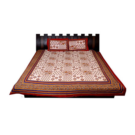White and Red Print Cotton Double Bed Sheet -0T24