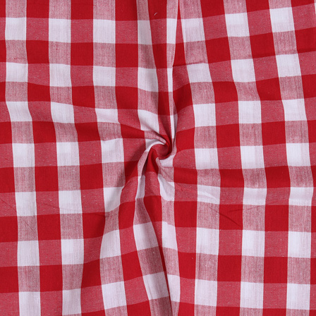 White and Red Tom Tom Checks Handloom Cotton Fabric-40032