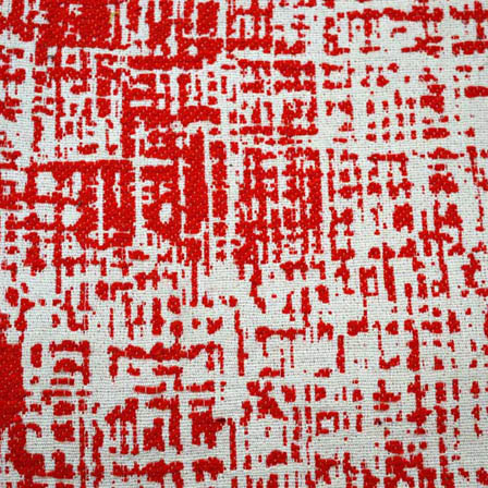 White and Red Unique Design Cotton Jacquard Fabric-31005