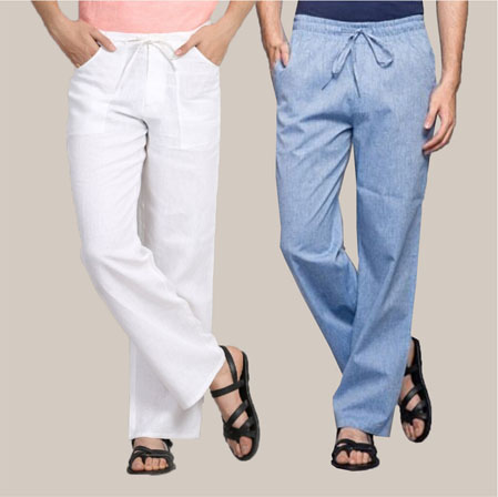 Combo of 2 Cotton Men Handloom Pant White and Sky Blue-35978