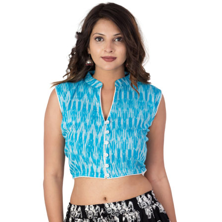 White and Sky Blue Cut Sleeve Cotton Ikat Blouse-30231