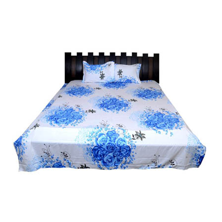White and Sky Blue Floral Rajasthani Cotton Double Bed Sheet-0D36