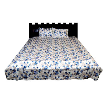 White and Sky Blue Rajasthani Cotton Double Bed Sheet-0D13