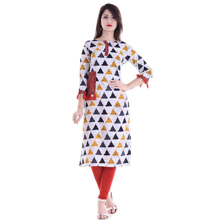 White and Yellow 3/4 Sleeve Tassel Pattern Rayon Kurti-3094