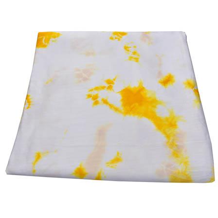 White and Yellow Batik Satin Fabric-32026