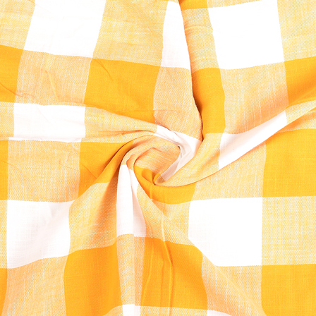 White and Yellow Checks Handloom Cotton Khadi Fabric-40285
