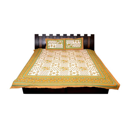 White and Yellow  Print Cotton Double Bed Sheet -0T27
