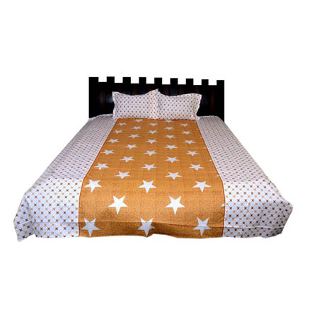White and Yellow Star Printed Cotton Double Bed Sheet-0G83