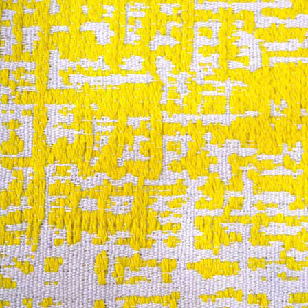 White and Yellow Unique Shape Cotton Jacquard Fabric-31003