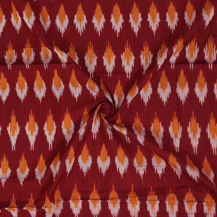 White and Yellow Zig Zag Design On Red Ikat Fabric-12058