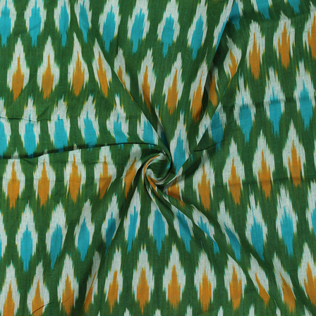 White and Yellow Zig Zag Pattern On Green Ikat Fabric-12050