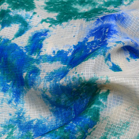 White and blue tie dye fabric-4938