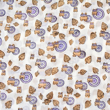 1 MTR-White block print mulmul fabric for Kids -4555