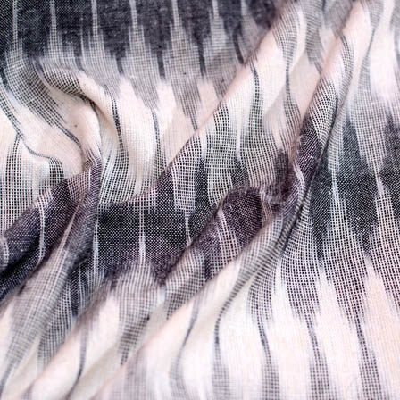 White-grey and black ikat fabric-5084
