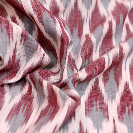 White-maroon and grey ikat fabric-5086