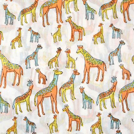 White multicolored Giraffe block print cotton fabric-4553