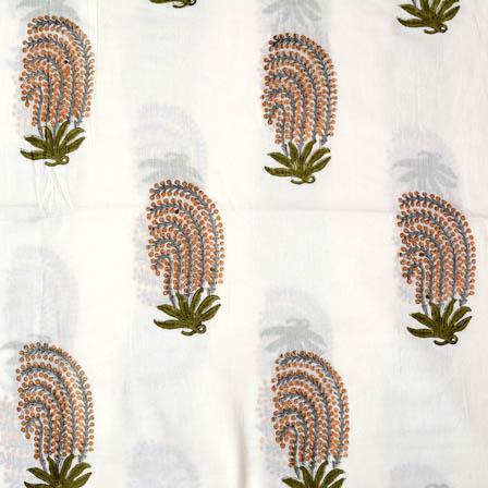 1 MTR-White-olive green flower block print fabric-4560