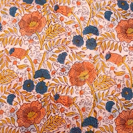 White-orange and blue large flower block print fabric-5201