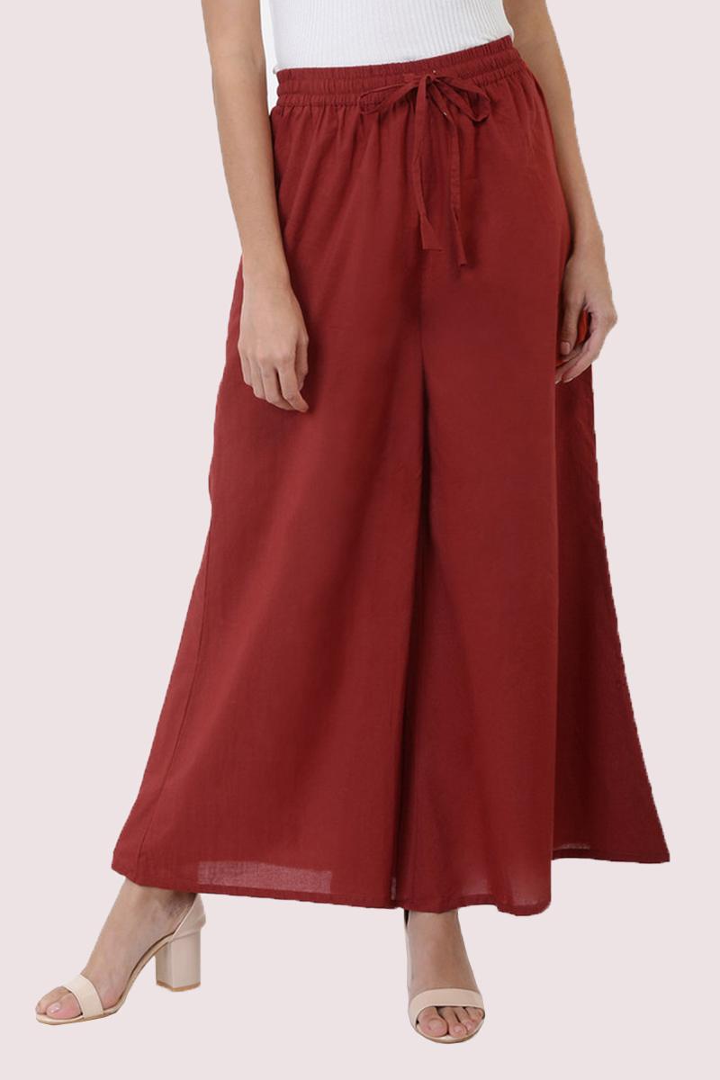 Wine Cotton Solid Women Palazzo-33307
