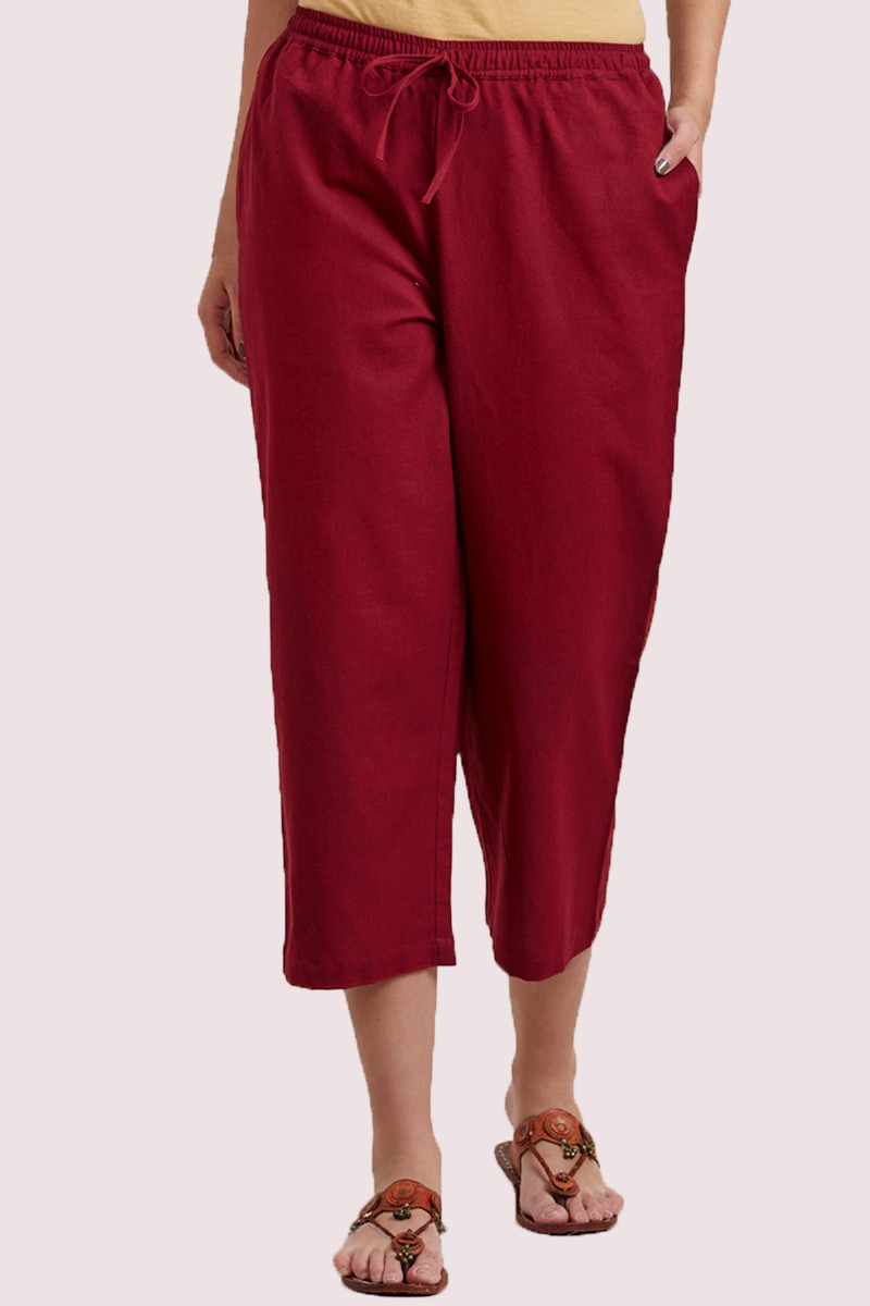 Wine Cotton Solid Women Culottes-33321