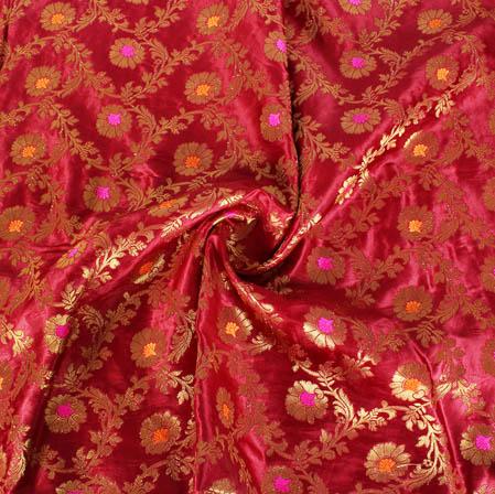 Wine Golden and Pink Floral Banarasi Silk Fabric-9447