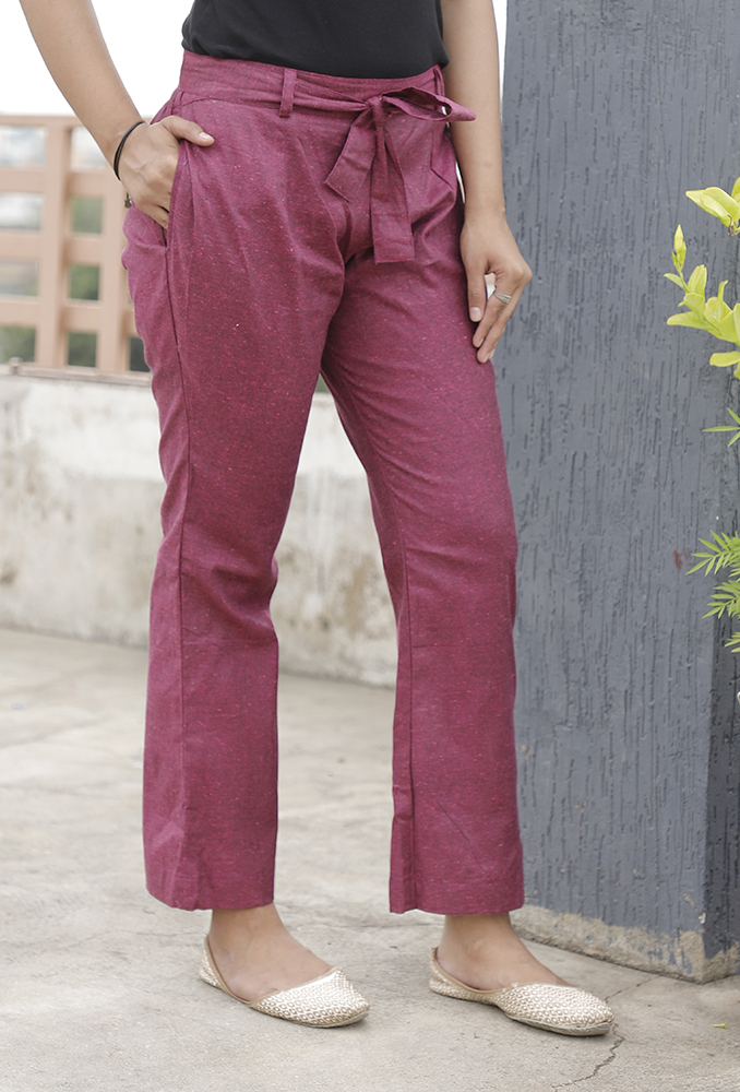 Wine Handloom Cotton Texture Narrow Pant with Belt-33904