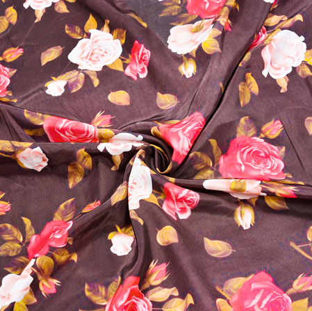 Wine Pink Floral Crepe Silk Fabric-41070