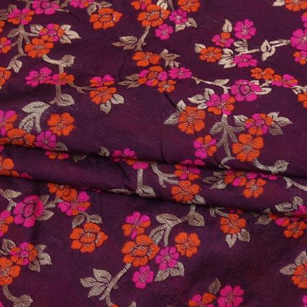 Wine Pink and Golden Floral Digital Banarasi Silk Fabric-9217