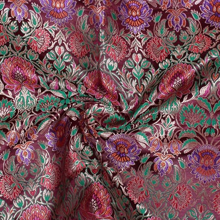 Wine Purple Kinkhab Banarasi Silk Fabric-9336