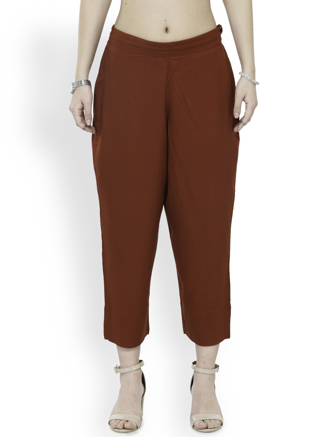 Wine Rayon Ankle Length Pant-33682