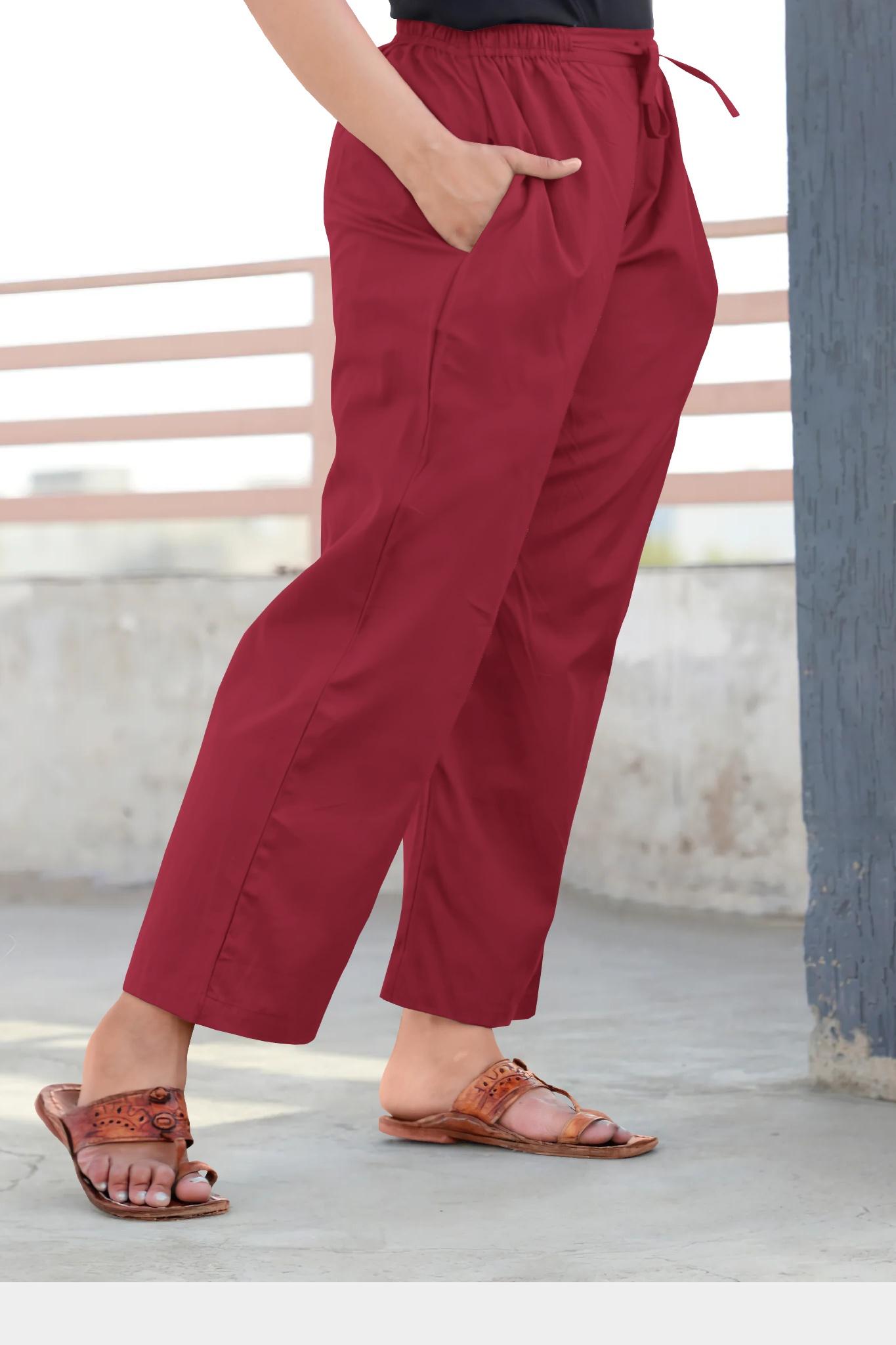 Wine Rayon Regular Wear Pant-35368