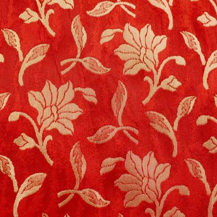 Wine Red and Golden Flower Brocade Silk Fabric by the yard