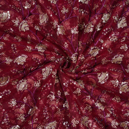 Wine Silver Floral Net Embroidery Fabric-19277