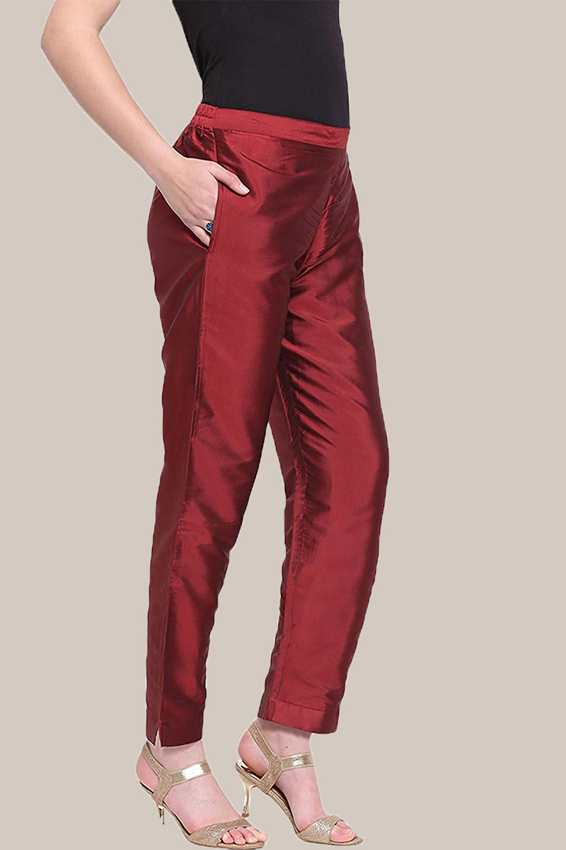 Wine Taffeta Silk Ankle Length Pant-33958
