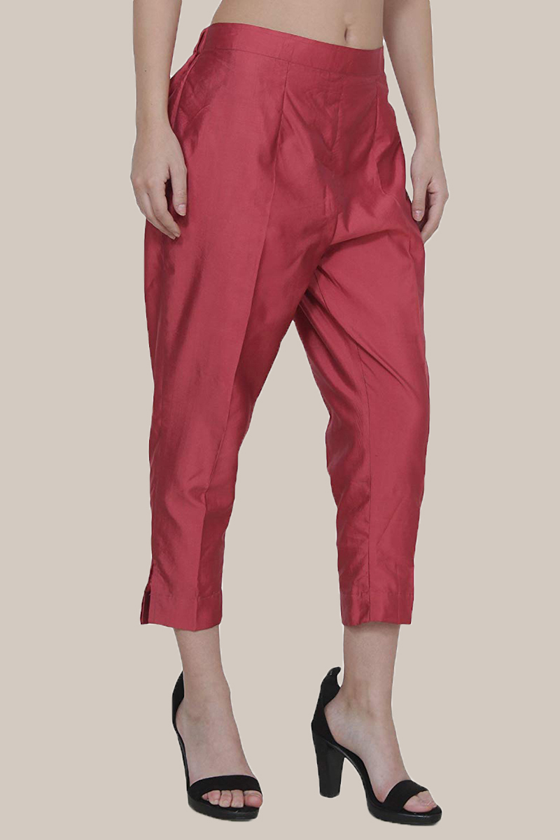 Wine Taffeta Silk Ankle Length Pant-33969