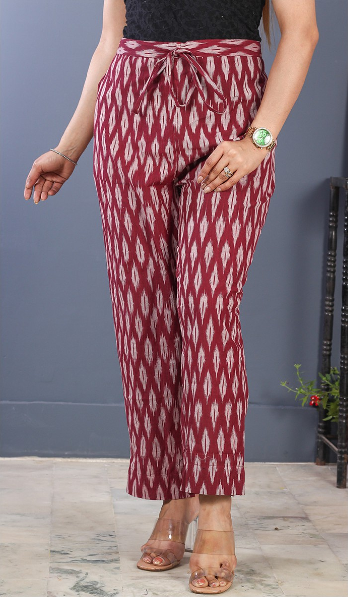 Wine White Cotton Ikat Ankle Women Pant-34684