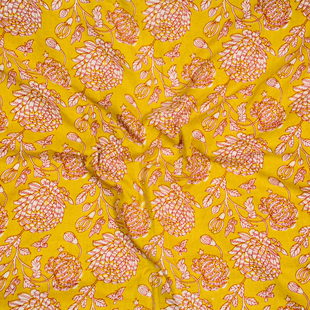 Yellow Red and White Block Print Cotton Fabric-14620