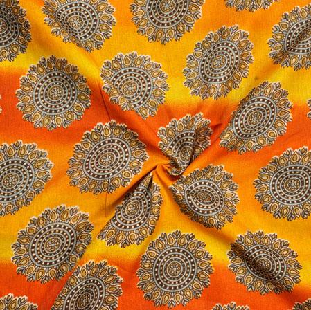 Yellow Beige Floral Print Manipuri-Silk Fabric-18066