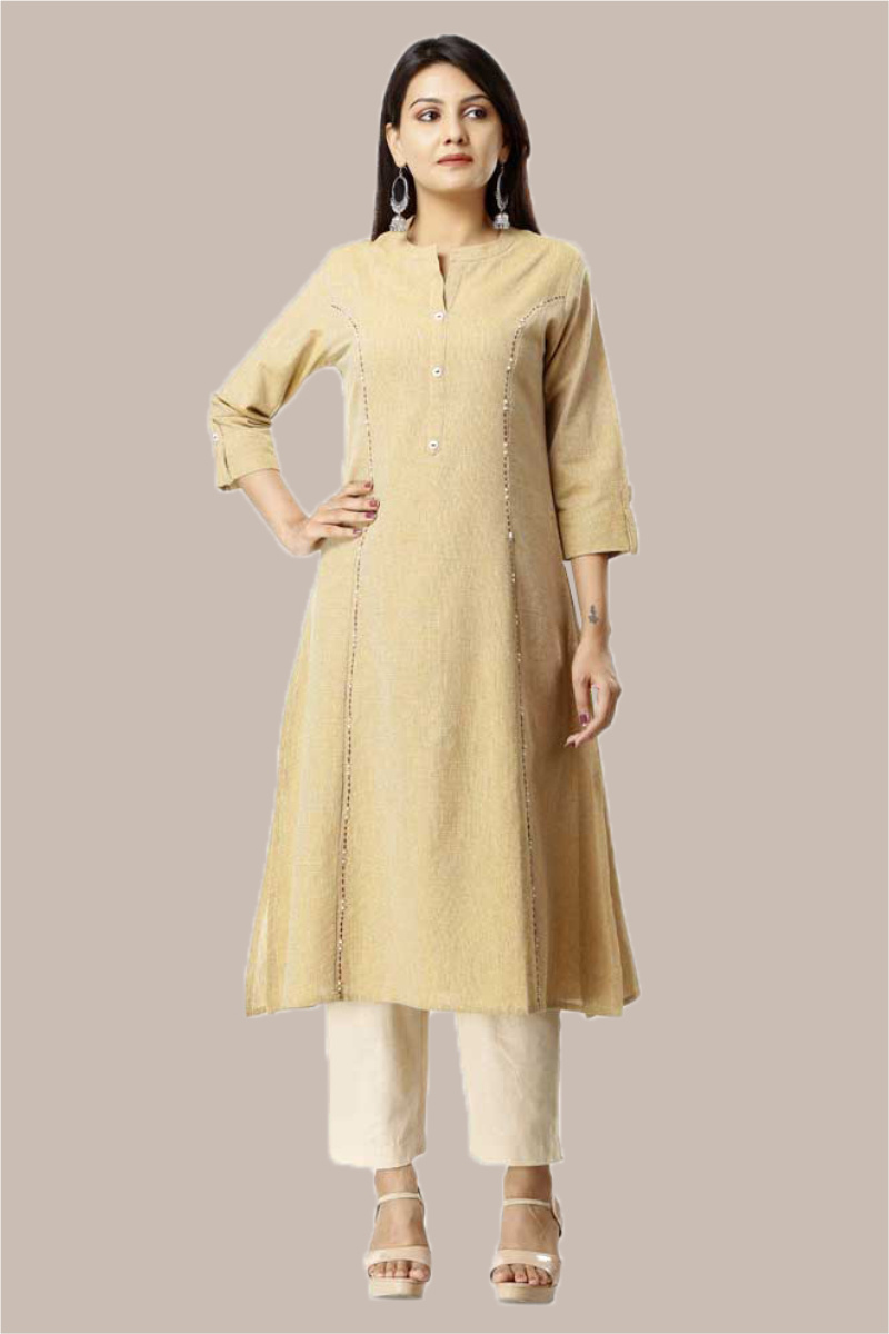 Kurta Pant Set-Yellow Beige Handloom Cotton Kurta Plain Ankle Length Pant Set-33745