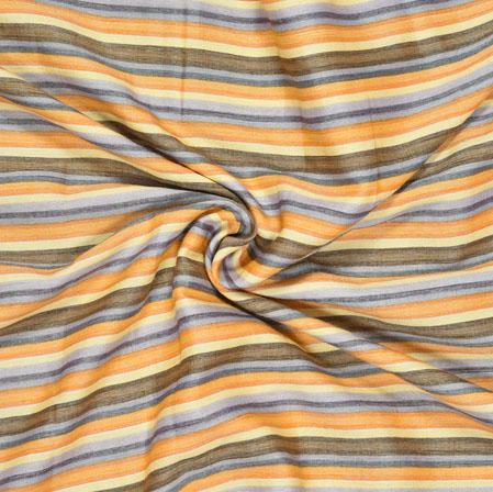 Yellow Beige Stripe Cotton Flex Fabric-28181