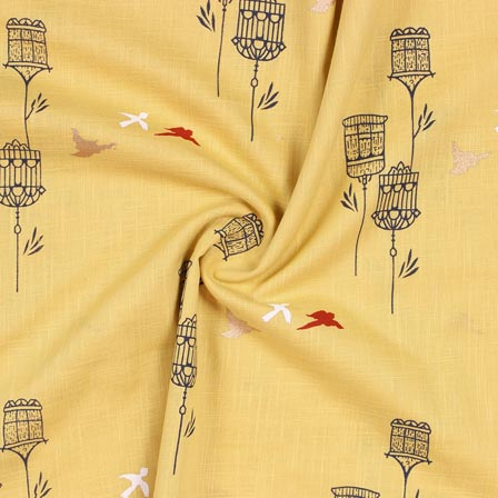 Yellow Black Block Print Rayon Fabric-14913