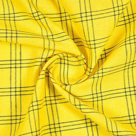 Yellow Black Check Handloom Cotton Fabric-40871