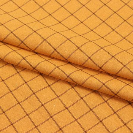 Cotton Shirt (2.25 Meter)-Yellow Black Check Handloom Khadi-140617