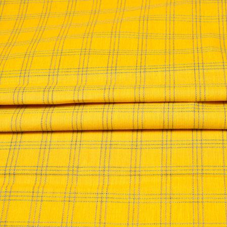 Yellow Black Checks Handloom Cotton Fabric-42462