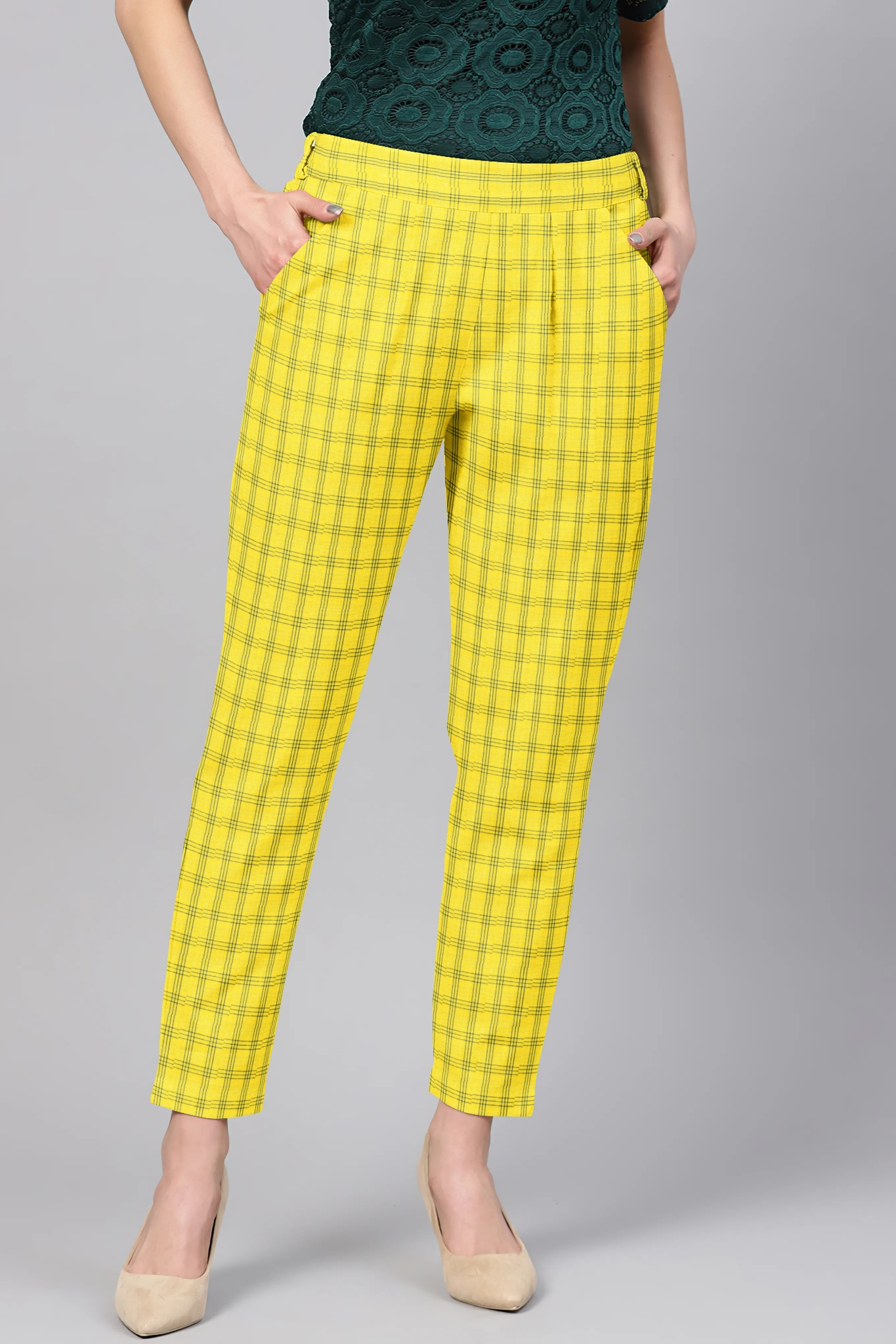Yellow Black Cotton Check Regular Fit Solid Trouser-36098