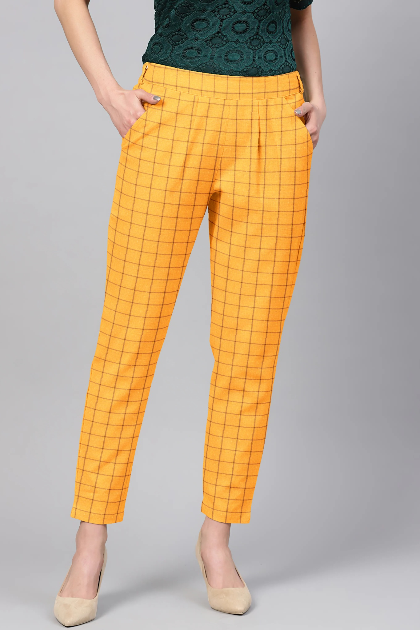 Yellow Black Cotton Check Regular Fit Solid Trouser-36116