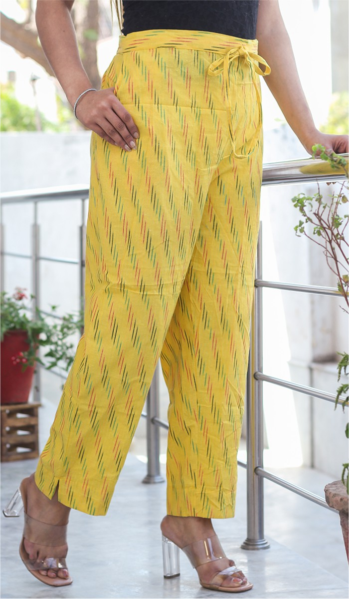 Yellow Black Cotton Ikat Ankle Women Pant-34665